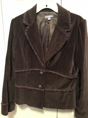 Adorable Ruffled Blazer Lined Brown - Size 10