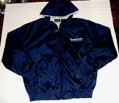 Geauga Lake & Wildwater Kingdom Lined Embroidered Jacket Men's Medium w/ Hood