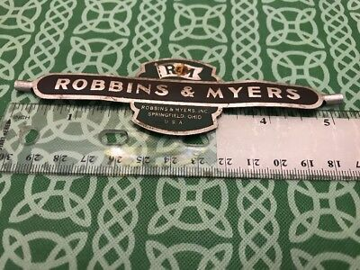 Robbins & Myers R&M Springfield Ohio Tin Sign Plaque FREE SHIPPING