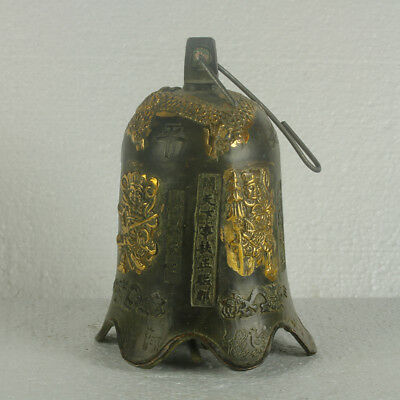Chinese Bronze Handwork Carved Four Heavenly Kings Bell Statue RT1015.a