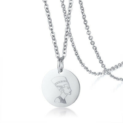 Silver Women Round Ancient Egyptian Pendant Necklace Charm Chain Stainless Steel