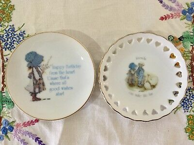 Holly Hobbie Trinket Pin Dishes x 2 Blue Bonnet Vintage 1970s Heart Cut Outs