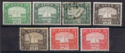 Aden KGVI 1937 Various Singles - 7 Stamps SG 1/4 & 6 - 5 Mint and 2 Used Space F