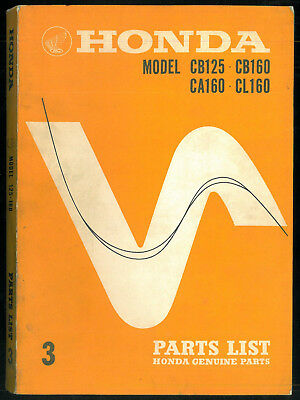 Parts List HONDA CB 125 K0 / CB93 - CB / CA / CL 160 Catalogue pièces 1964 / 68