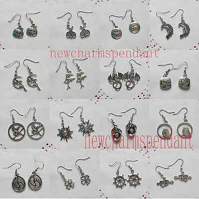 Wholesale 10pairs Vintage Antique Silver Mixed Charm Pendant Dangle Earring Gift
