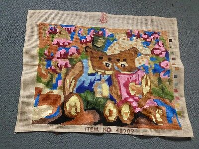 Completed Tapestry Canvas - Boy & Girl Bears