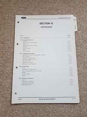 Genuine Ford Audio System- Suppression  File Section 12 - Cosworth, RS 2000 ,CVH