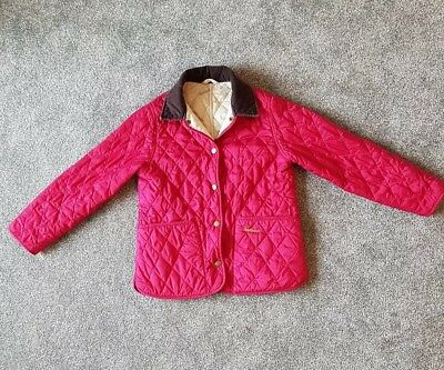 Girls Pink Quilted Barbour Coat Age 6-7