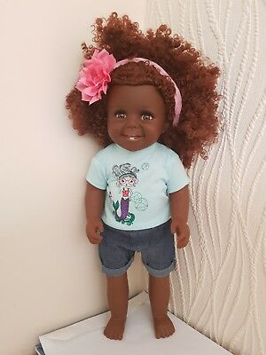 16 Inch Ethnic black doll with Afro Hair in Dress