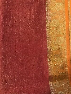 Saree w/stitched blouse- crushed tissue saree-free ship