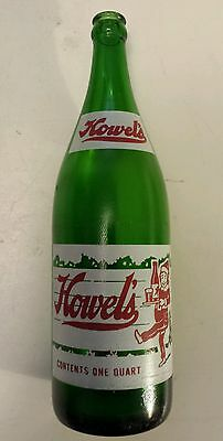 """Rare, American (Pittsburgh, Pa) """"howel's"""" 1 Quart Green Bottle-Red & White Acl"""