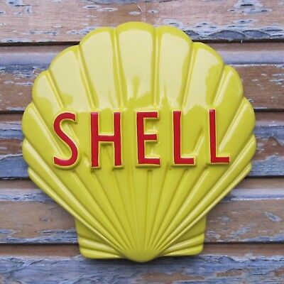 SHELL Petrol Oil Sign  EMBOSSED bar garage gasoline clam