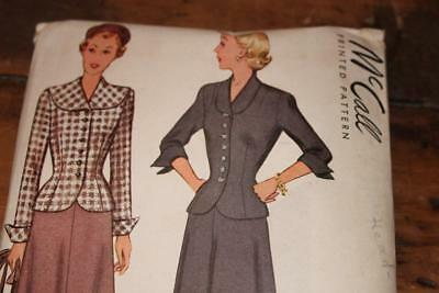 Vintage McCall Pattern #7412 Misses 1940's Skirt and Jacket Size 12