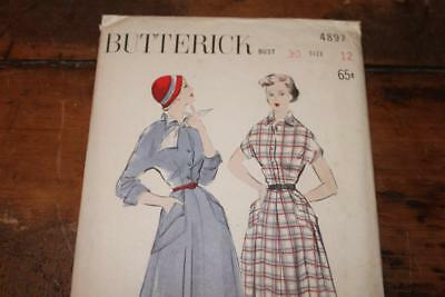 Vintage Butterick Pattern #4897 Misses 1940's Button Front  Dress Size 12 Uncut