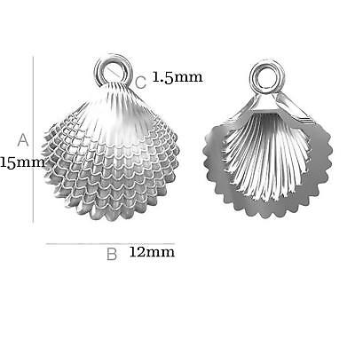 Solid 925 Sterling Silver Shell Jewellery Making Findings Charms Pendants A14