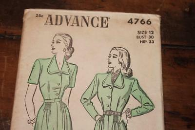 Vintage Advance Pattern #4766 Misses 1940's  Dress Size 12 Uncut