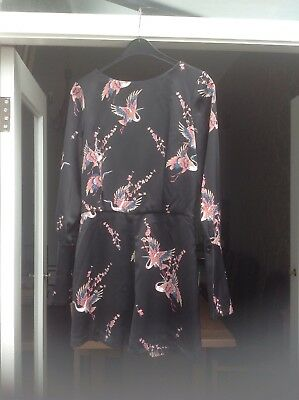 Topshop size 10 low backed jumpsuit. Black with oriental design