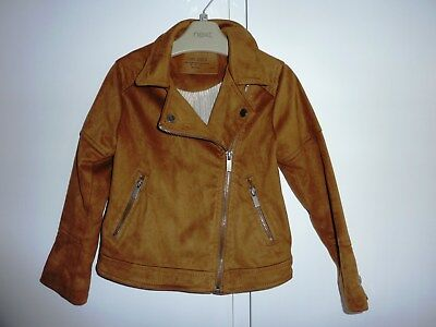 Zara Brown Girls Biker Jacket - 5 Years but more 4-5 Years - Excellent Condition