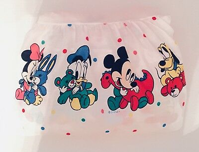 Vintage Disney Babies Mickey Mouse Baby Crib Skirt Dust Ruffle With Polka Dot