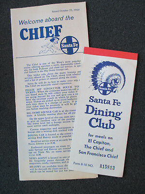 1960's RAILROAD. SANTA FE  ABOARD THE CHIEF BROCHURE AND DINING CLUB TICKET.
