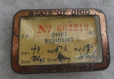 Vintage 1940 State Of Ohio Resident Fishing License In Metal Holder #602219