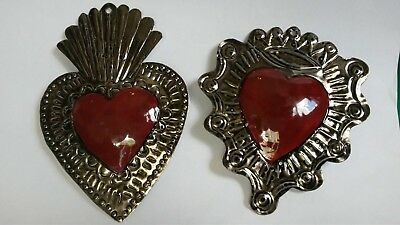2 Mexican tin decoration sacred heart