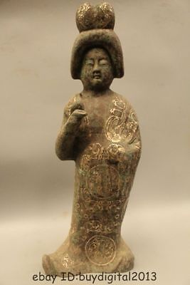"25"" Chinese ancient Pure Bronze Silver Tang Dynasty Maid Women Statue"