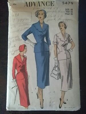 Vintage ADVANCE Womens Suit Sewing Pattern, size 18