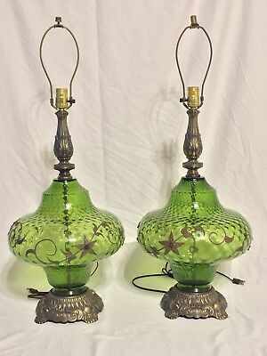 Pair of Vintage Bubble Glass with Filigree EF & EF Industries Lamp 1972