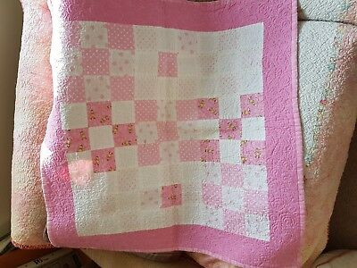 Pink and White Square Girls Patchwork Baby Quilt - Handmade