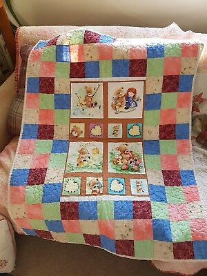 Teddy Bears (Girls) Cot Quilt - Handmade