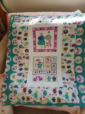 Hedgehog (Girls) Cot Quilt - Handmade