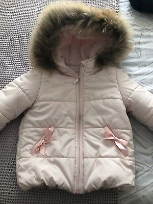 Girls Bimbalo Pink Padded Coat With Fur Hood Age 3