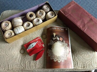 Vintage Tatting Shuttles, Book And Box Of Thread