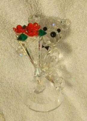 Crystal Figurine bow tie wearing Teddy holding bouquet CRYSTAL WORLD style