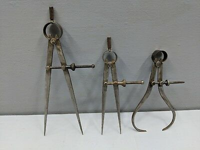 3 Lot Vintage Union Tool Outside Inside Spring Calipers Dividers, Flat Leg - C18