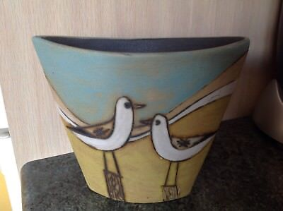 hand painted pottery vase seagulls and crabs