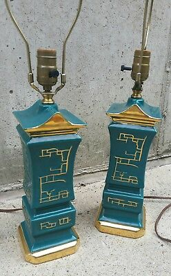 Vintage Mid Century Modern Table Lamps Pair Asian Pagoda Japanese Oriental Green