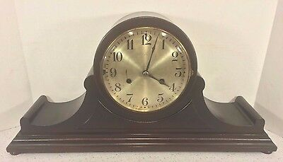 Vintage Hamburg American Clock Co Tambour Case Clock Running Westminster Chimes