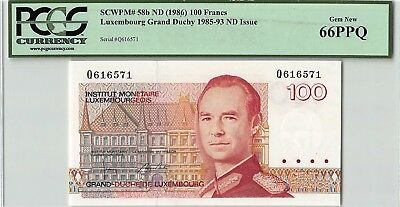 Luxembourg ND (1986) P-58b PCGS Gem New 66 PPQ 100 Francs