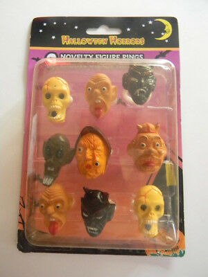 Halloween Horrors Novelty Rings / Unopened Set of 9 / Creepy Characters