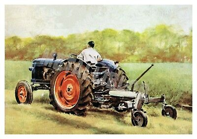 Fordson Super Major Tractor At Work - Poster (A3)