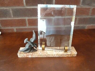Original French Art Deco Marble Photo Frame c1930's With Spelter Bird