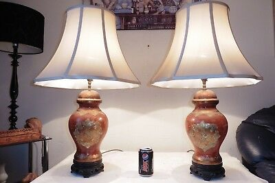 Large Pair Of Vintage Chinese Ginger Jar Lamps With Vintage Silk Shades