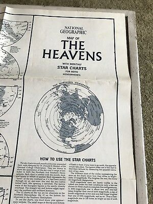 """National Geographic MAP OF """"THE HEAVENS"""" 23"""" x 35"""" Paper Poster 1970 Star Charts"""
