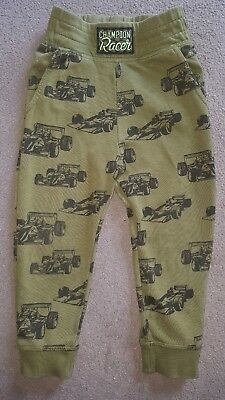 Boys Green H&M Champion Racer Jogging Pants Racing Cars 2 - 3 Years