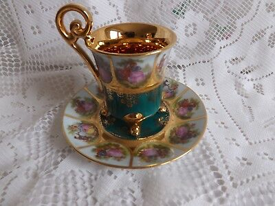 Beautiful Royal Vienna Fragonard Courting Couple Coffee Duo, Beehive Mark