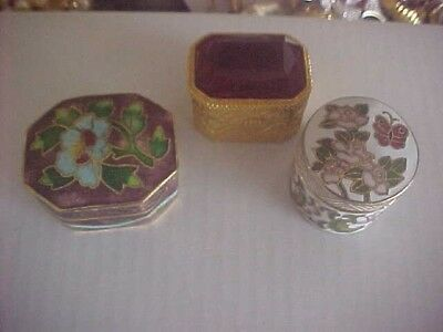 Lot Of 3 Small Trinket/ Pill Boxes. Vintage. Nice!