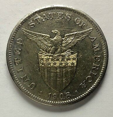 1908s US-Philippines 1 Peso Silver Coin - lot #4A
