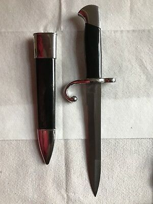 Dagger Knife Bayonet Black with Metal Scabbard